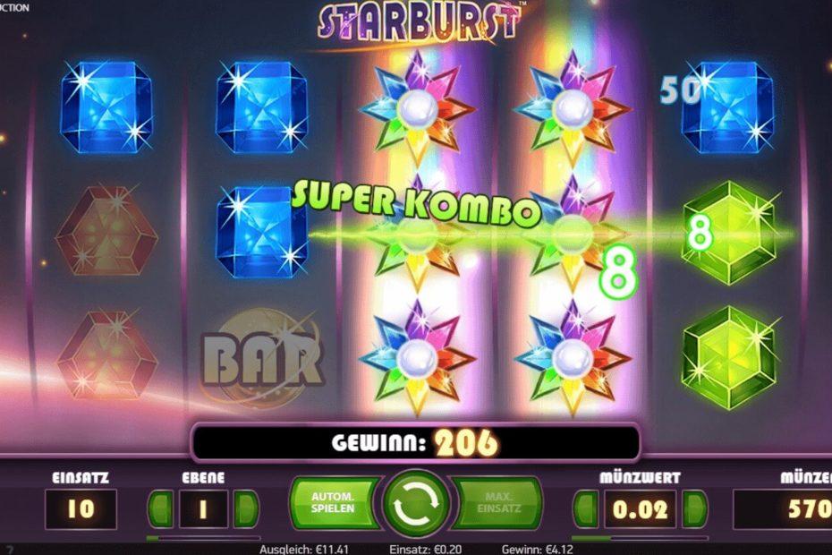 Gewinn beim Starburst Spielautomaten