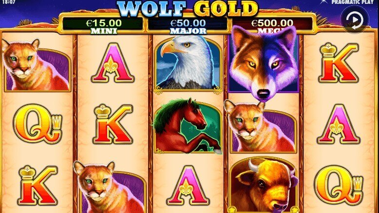 So sieht der Wolf Gold Spielautomaten aus