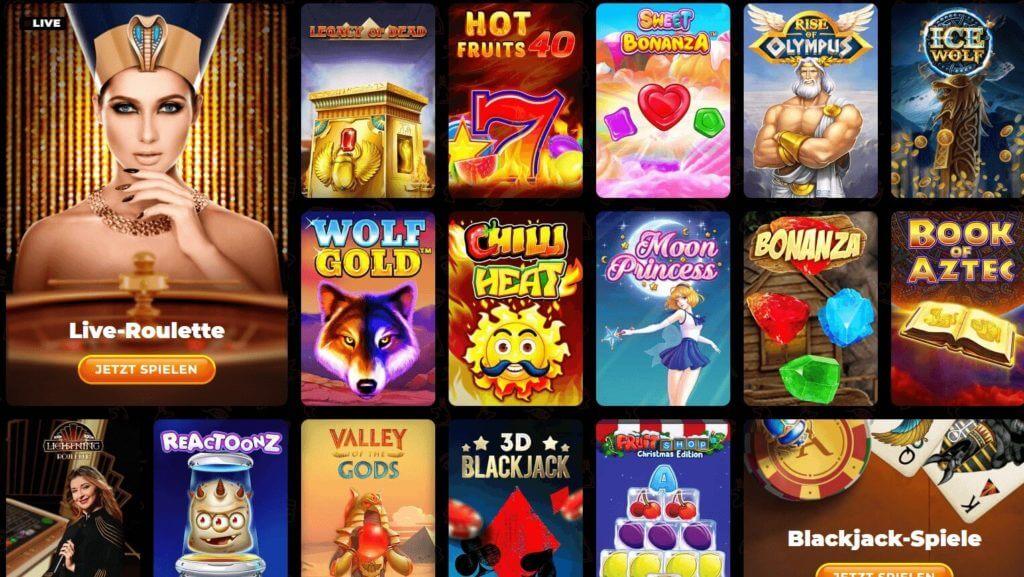 Überblick über alle Spielautomaten bei AmunRa
