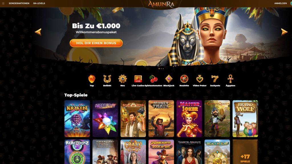 Startseite des AmunRa Casinos mit Angebot