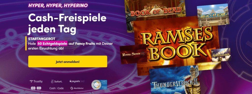 Freispiele Bonus bei einem der besten Online Casinos - Hyperino
