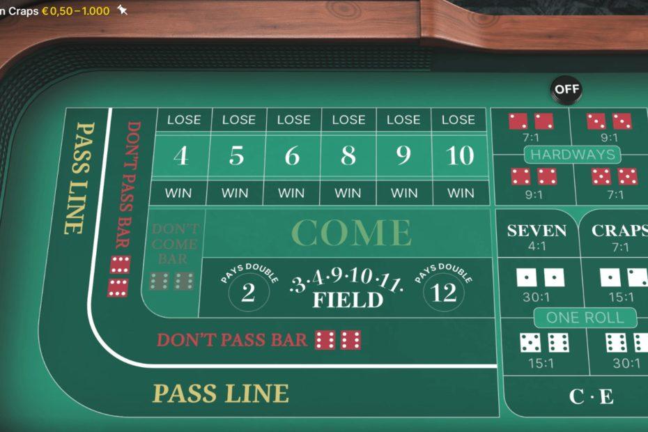 Craps im Online Casino gespielt