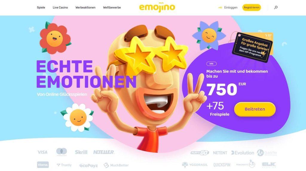 Startseite des Emojino Casinos