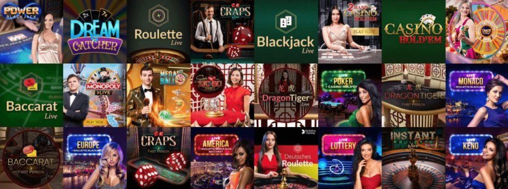Auswahl an LIve Casino Spielen bei Vulkan Vegas