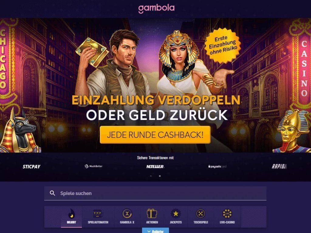 Startseite vom Gambola Online Casino