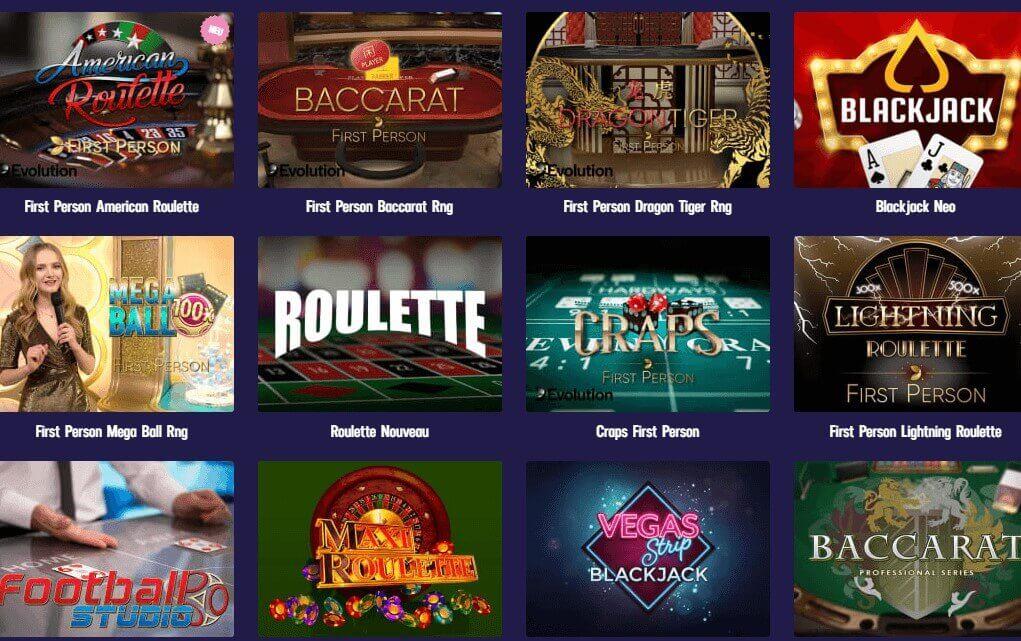 Auswahl an Live Casino Spielen im Gambola Casino